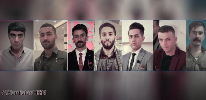 تصاویر زندانیان از چپ به راست: سیامک اشرفی، رضا اسماعیلی، کیوان رشوزاده، کیوان زارع، امید سعیدی، کامران قاسمی و کامران درویشی